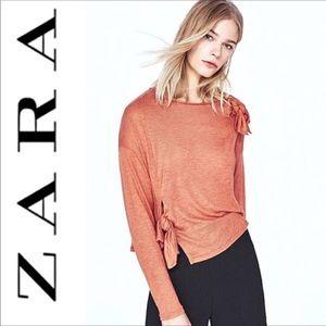 Zara Lightweight Woven Top Knotted Detail Sz L